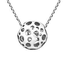 Sterling Silver Pendant Necklace Unique Orb w/ Circle Cutouts