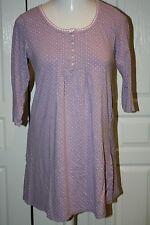Women's M Medium Nightgown 3/4 Sleeve Short Stretchy Lilac Polka Dots Pajamas
