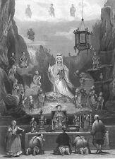 CHINA, Buddha Buddhist Temple at Dinghai Zhoushan ~ Old 1842 Art Print Engraving