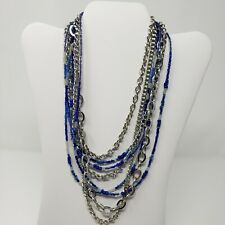 Multi Strand Blue Seed Bead Silver Tone Chain Layered Statement Collar Necklace
