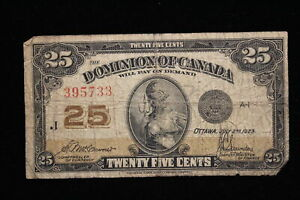 1923 Dominion of Canada. 25 Cents. Shinplaster. McCavour-Saunders. (#5)