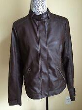 Hollister Womens Faux Leather Moto Bikers Jacket Brown  L NWOT MINT
