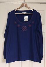 Tommy & Kate Azul Jersey manga larga superior talla 22 patrón floral