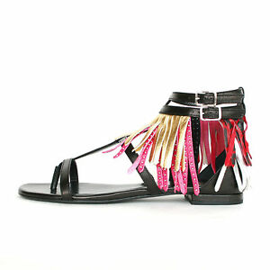 SAINT LAURENT $995 studded leather metallic fringe shoes buckle sandals 36 NEW