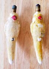 Antique Vintage Yellow Cockatiel Parrot Bird Christmas Bulb Set of 2