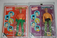 D.C Comics 8 inch Action Figures retro Mego card  Aquaman webbed hands  set of 2