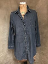 CHAMBRAY DENIM TUNIC Shirt Coldwater Creek Top Cotton PL 14-16