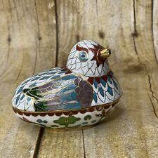 Vintage 50s Brass Cloisonne Enamel Bird Trinket Box