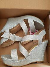 Sugar Cadie Banded Platform Wedge Heels in Glittery Silver, Women's 8M, NIB
