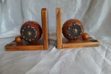 paire de serre livres en bois decor vintage wood bookends