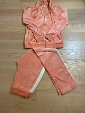 EUC Escada Sport Track Suit Workout Coral Velvet Look Cotton Blend  Sz S
