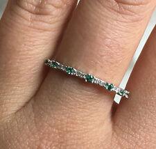 10k White Gold Emerald Diamond Wedding Band Stackable Ring Guard Wrap Enhancer