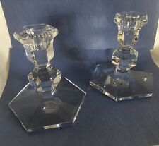 "Val St. Lambert Crystal Hand Made Taper Candle Stick Holders 5"" Tall-Preowned"