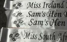 PERSONALISED PARTY/HEN SASH PRINTED ON ONE SIDE ONLY - FREE POSTAGE - NEW