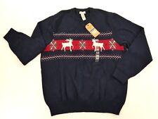 Dockers Mens Navy Blue Winter Sweater 100% Cotton Crewneck Sweater XLarge New