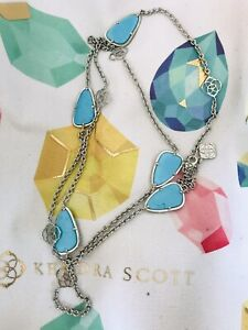 Kendra Scott Silver Turquoise Kinley Necklace