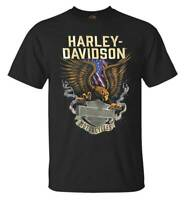 Harley-Davidson Men's Eagle Block B&S Short Sleeve Crew Neck T-Shirt, Black