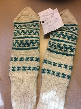 Handmade Knitted Womens Wool Mittens Gloves Nordic Teal Pointed Stocking Stuff