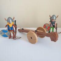 Vintage Playmobil Pair Of Vikings With Battering Ram