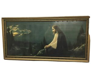 ANTIQUE 30's 33 X 16 CHRIST ON THE MOUNT of OLIVES by GIOVANNI RELIGIOUS Framed