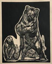 GRAVURE sur Bois Art Deco OURS et SINGE signée PAUL JOUVE woodcut bear monkey