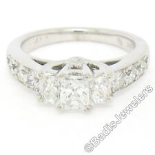 14k White Gold 1.50ctw 3 Radiant Diamond Engagement Ring w/ Round Accents Sz 5.5