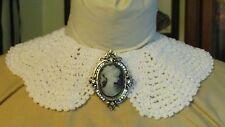 Civil War Dress Victorian Style Accessory-Cameo Brooch~Faux Silver & Diamonds