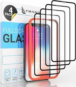 4x 9D Glas iPhone 12 11 X XS XR Pro Max Mini 7 8 Panzerfolie Installationsrahmen