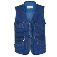 Cotton Denim Mens Fishing Vest travel safari waistcoat hunting jacket big yard