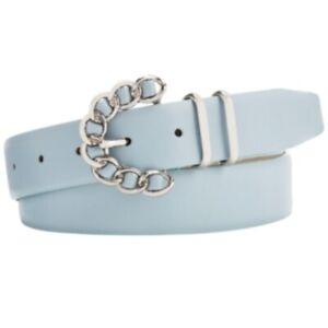 STEVE MADDEN Chain-Buckle faux-leather women's belt  -Light Blue- S M L XL