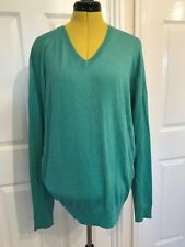 BNWT HACKETT London Silk/Cotton/Cashmere Green V Neck Pullover/Jumper. Size L