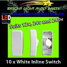 10 NEW WHITE INLINE ON/OFF ROCKER SWITCHES SUITS 12V 24V 240V HOME CAMPING LEDS