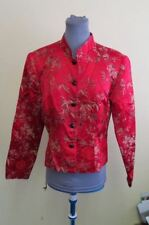 RED ASIAN STYLE JACKET SILK BLEND BROCADE SIZE M SHORT CROP JACKET  FLORAL