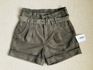 Mexx High Waist Belted Tailored Velour Shorts Size 8