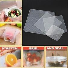 4 Silicone Fresh Food Fresh Storage Wrap Seal Cover Stretch Kitchen Cling Film Q