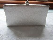 Silver Evening Bag Clutch Big Knob Closure or Metal chain handle Textured EPOC