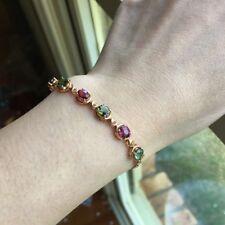 Elegant Natural Tourmaline 18K Rose Gold Bracelet 19cm 19.89cts