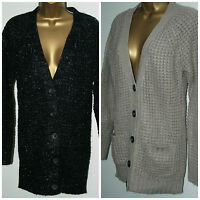 Papaya Ladies Black Beige Sparkle Medium knit Cardigan Size:10 - 20