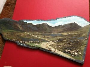 Large Signed Oil Painting On Slate Miners Path - Approx  57 x 25 cms