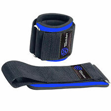 WEIGHT LIFTING WRIST SUPPORT WRAPS GYM STRAPS BANDAGES HOOK & LOOP LOCK (BLUE)