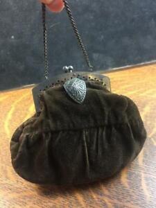 Antique 1800s Dainty Brown Velvet Handmade Purse Silver Metal Frame Chain Handle