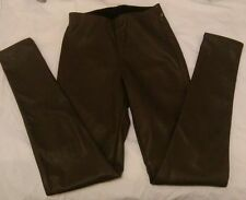H&M Faux Leather Mid Rise Trousers for Women