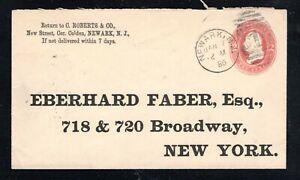 1885 Fancy Cancel Newark, N.J. Jan. 7th, Sc#U237 to Eberhard Faber, New York
