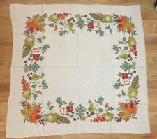 "Vtg Beige Tablecloth Autumn Harvest Colorful Pear Squash Acorn Leaves 48"" x 48"""