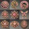 Big Vintage Gold Pink Rhinestone Crystal Brooch Pin DIY Wedding Bouquet Women