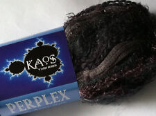 Plymouth Kaos Perplex #2 Grey Wine Blue Striping Fiber Yarn Wool Nylon Mohair +
