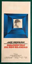 LOCANDINA QUALCUNO VOLO' SUL NIDO DEL CUCULO JACK NICHOLSON 1° EDIZIONE 1976