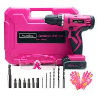 Monika 12V Pink Cordless Drill Screw Bits Sockets for Women Tool for Ladies