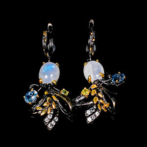 Moonstone Earrings Silver 925 Sterling Jewelry Fine Art   /E43667