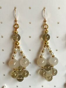 Lemon Quartz & Grey Agate Woven Earrings on Gold Plated Ear Hooks